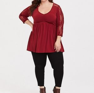 Torrid Dark Red Studio Knit & Lace Babydoll Top